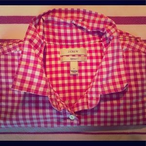 JCrew Crisp Pink Gingham Perfect Shirt Size S